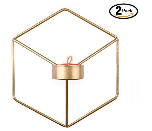 2 Stück 3D Geometrische Wand-Kerzenhalter aus Metall ,Wand Kerzen Halter Leuchter Kerzenhalter Kerzenleuchter(21 x 12 x 18.5 cm )