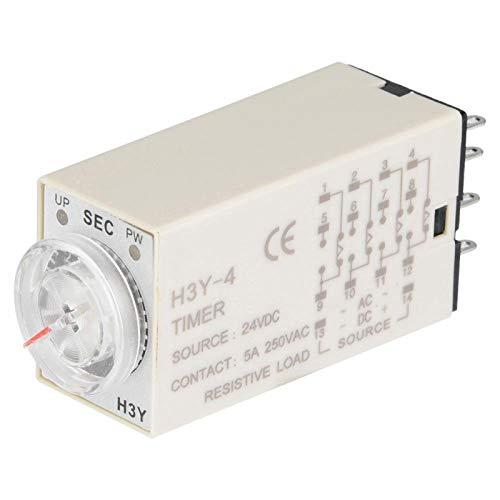 Risegun Relé de Tiempo - 24 VCC 14 Pines H3Y-4 Control de Puntero de relé de Tiempo Interruptor de Control de Temporizador de retardo(60S)