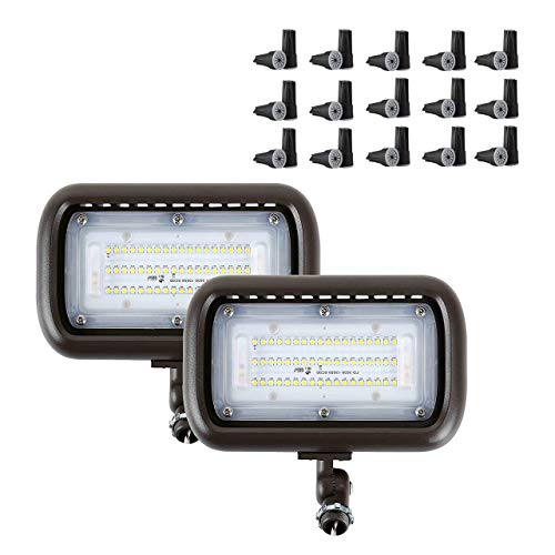 GKOLED 2-Pack 45W 5000K LED Low Voltage Flood Light with 30-Pack Waterproof Large Wire Nuts