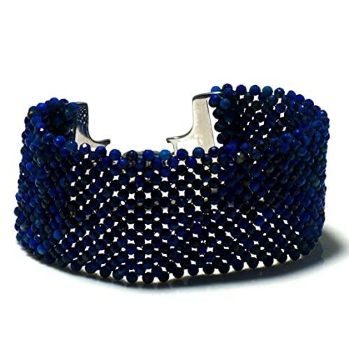 Pulsera de lapislázuli unisex, pulsera para hombre, pulsera de diseñador para mujer, pulsera de lapislázuli natural, pulsera de amor, pulsera tejida con cuentas, cierre magnético.