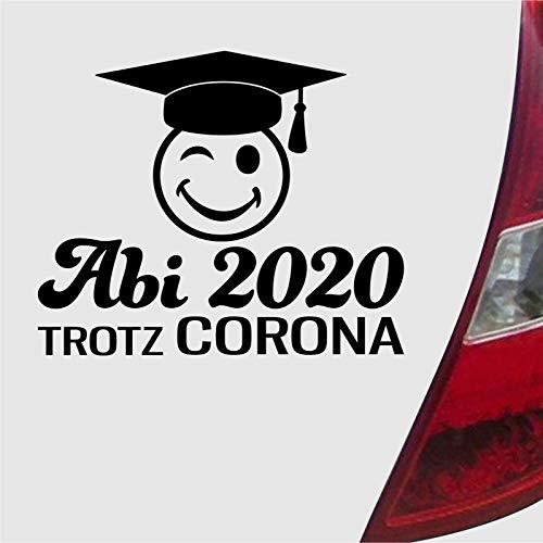 Abi 2020 trotz Corona Doktorhut fun Abitur Aufkleber sticker (Schwarzmatt)