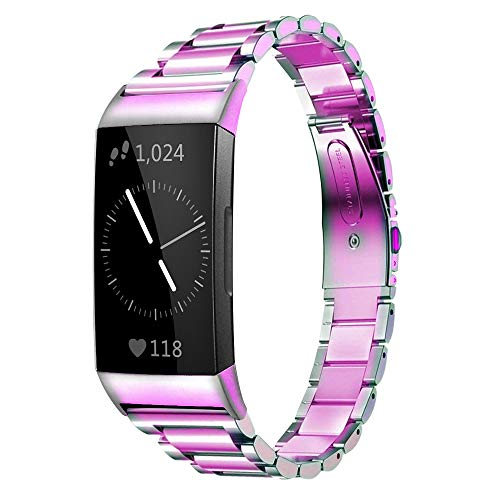 Shangpule Compatible for Fitbit Charge 3 / Fitbit Charge 4 / Fitbit Charge 3 SE bands, Stainless Steel Metal Replacement Strap Wrist Band Compatible for Charge 3 Fitness Tracker Large Small (Rainbow)