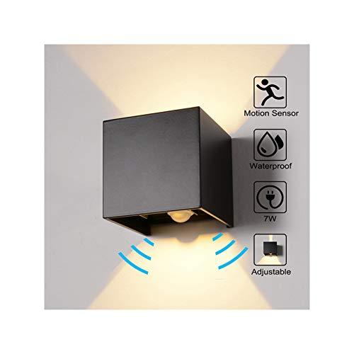 Wandleuchte Bewegungsmelder Aussen/Bewegungsmelder Innen LED Wandlampe, 7W Warmweiß Wasserdicht Verstellbare Aussenleuchte, Außenwandleuchte Sensor für Garten/Flur/Weg Veranda Hell (Schwarz)