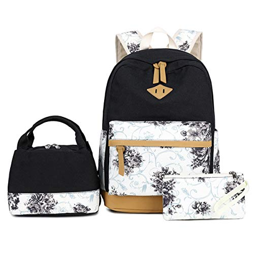 VIDOSCLA 3Pcs BagSets Follwer Prints Primary School Backpack Elementary BookBag Students Daypack Rucksack with Luch Box