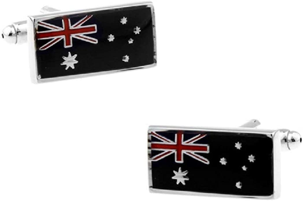 MRCUFF Australia Flag Australian Pair Cufflinks in a Presentation Gift Box & Polishing Cloth …