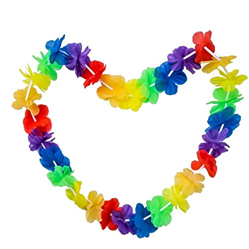 MICHAELA BLAKE Colorful Hawaiian Luau Tropical Flower Lei Garland For Beach Fancy Dress Up Costumes Outfits Accessory Rainbow Color