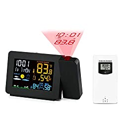 Protmex Projection Alarm Clock Weather Station, PT3391 WWVB Radio Controlled Clock Weather Monitor Indoor/Outdoor Thermometer, Dual Alarm Clocks for Bedrooms, LED Display with Dimmer, 12/24 Hours