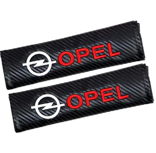 666 2 piezas de fibra de carbono + almohadilla bordada para cinturón de seguridad de coche para hombreras de carreras para Opel