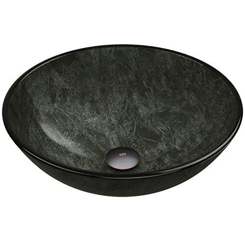 VIGO VG07051 16.5' L -16.5' W -6.0' H Gray Handmade Countertop Glass Round Vessel Bathroom Sink in...