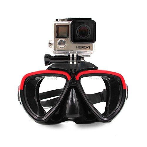 Telesin - Gafas de buceo de silicona con soporte desmontable con rosca para cámara GoPro HD Hero 2,3,3+ y 4, Red&Black