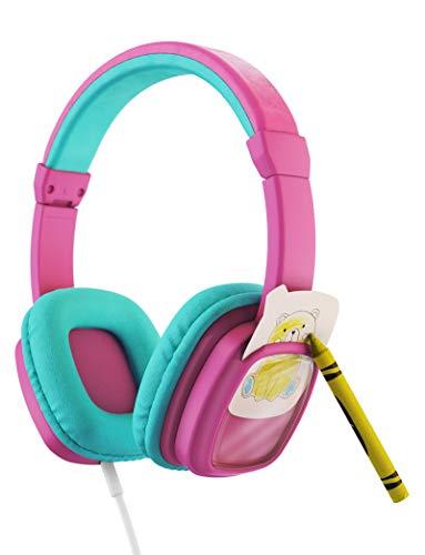 Planet Buddies Kinder kopfhörer, Lautstärkeregulierung mit austauschbaren Tierkärtchen im Lieferumfang enthalten, On-Ear-Kopfhörer Kinder, ideal für Reisen, Schule, Telefon, Tablet und Kindle, Pinke