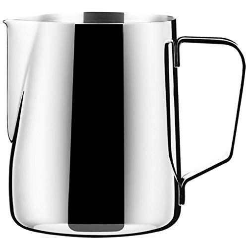 Coffee 12oz Stainless Steel Milk Frothing Pitcher - Measurements on Both Sides Inside - Perfect for Espresso Machines, Milk Frothers, Latte Art