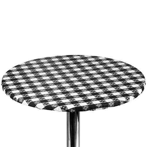 """Yourtablecloth Checkered Vinyl Round Fitted Tablecloth with Flannel Backing Elasticized Tablecloth Great for Restaurants, Picnics, Bistros, Indoor and Outdoor Dining, Playing Cards 60"""" Black and White"""