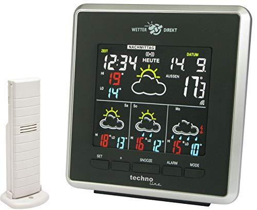 Technoline WD 4026 Wetterdirekt - Wetterstation mit LED-Anzeige,Innen und Außentemperaturanzeige, sowie Wettervorhersage für 4 Tage, schwarz/silber