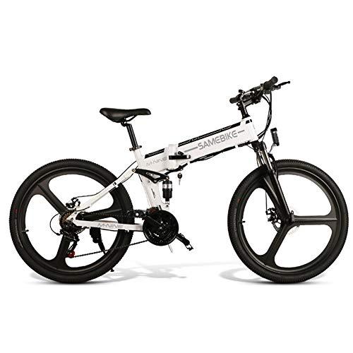 Calmson SAMEBIKE 26-inch Folding Electric Mountain Bike, Aluminum Alloy 21-Level Shift Assisted 48V Lithium Battery Moped Dual Disc Brake Shock-Absorbing Motorcycle