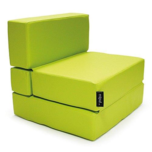 MiPuf - Sofá Puf Cama Plegable - 190x80x20 cm - Tejido Polipiel Alta Resistencia - Doble Costura - Interior Foam Alta Densidad - Verde - 4 años de Garantía