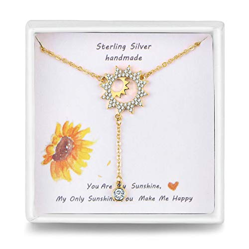 Qings Gold Sun Pendant Necklace Sterling Silver Dainty Y Drop Choker Chain Necklace for Women Girls