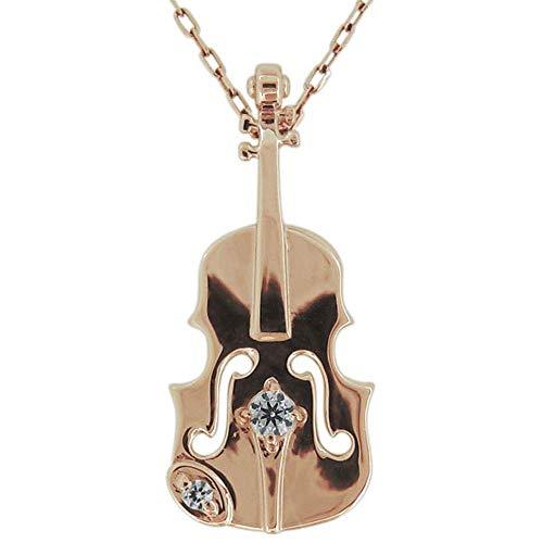 [プレジュール] ネックレス バイオリン 音楽 ダイヤモンド レディースペンダント 楽器 ピンクゴールド K18 18金