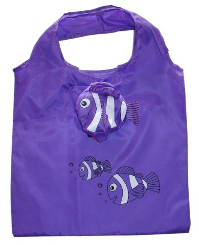 Vigorgift Sac de courses pliable Motif poisson clown Violet