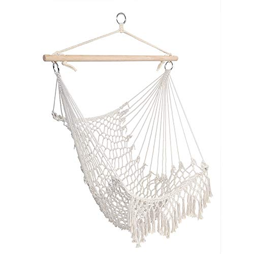 Gecboey 1pcs Hammock Chair Macrame Swing Cotton Rope Sling with Tassel Handmade Knitted Mesh Rope Swing Chair Beige for Indoor, Outdoor, Home,Yard,Deck, Garden