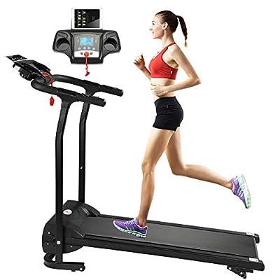 Fitnessclub Folding Electric Motorised 1100 W Treadmill Walking Running Machine Adjustable Incline Fitness Exercise Cardio Jogging W/Emergency System Hand Grip Pulse Sensor Tablet Bottles Holder by SWBUK