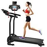 Fitnessclub Folding Electric Motorised 1100 W Treadmill Walking Running Machine Adjustable Incline Fitness Exercise Cardio Jogging W/Emergency System Hand Grip Pulse Sensor Tablet Bottles Holder