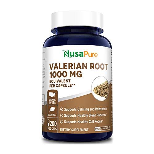 Valerian Root 1000mg 200 Veggie Caps (Vegan, Non-GMO, Gluten-Free ) Supports Sleep and Stress...