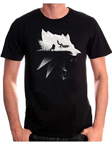 Cotton Division Witcher Herren T-Shirt Wolf Silhouette Geralt von Riva Wild Hunt Baumwolle Schwarz - L
