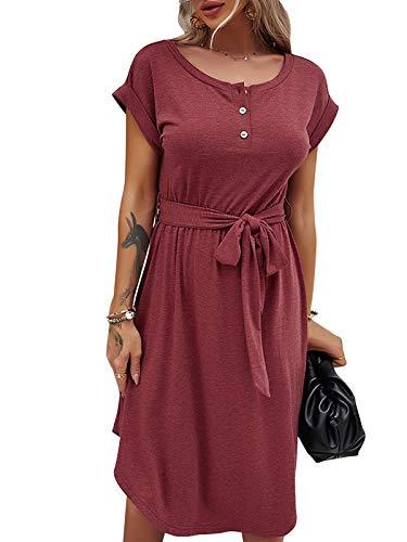 Damen Casual Sommerkleider Kurzarm T-Shirt Button Down Rundhalsausschnitt Midi Kleid für Freizeit Party Dating