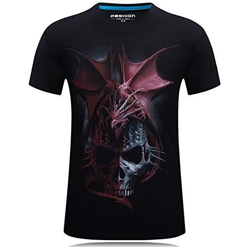 Mens Skull Dragon Personalized 3D Creative Printing T Shirts/Short-Sleeve Casual Cotton Tee Shirt Black S
