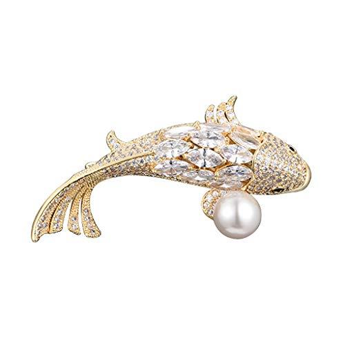 Broches De Las Mujeres Broche de joyería Suerte Crystal Fish Pin cristalino de la Broche de Perlas de Cristal broches y prendedores Broche Pin Colgante (Color : Gold)
