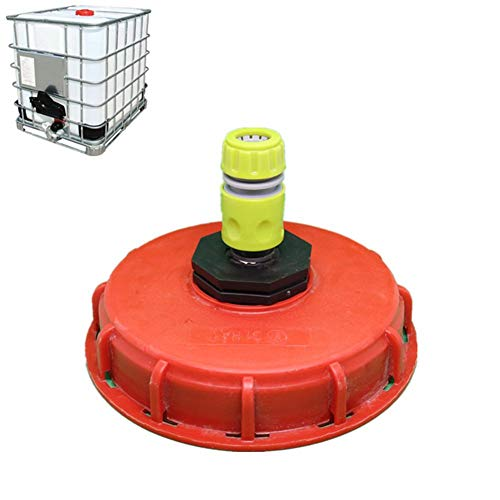 dewdropy - Adaptador de manguera de depósito de plástico de 1000 L de plástico, adaptador de depósito IBC, adaptador de manguera de jardín, empalmes para importación de cable a 1/2 pulgadas (163 mm)