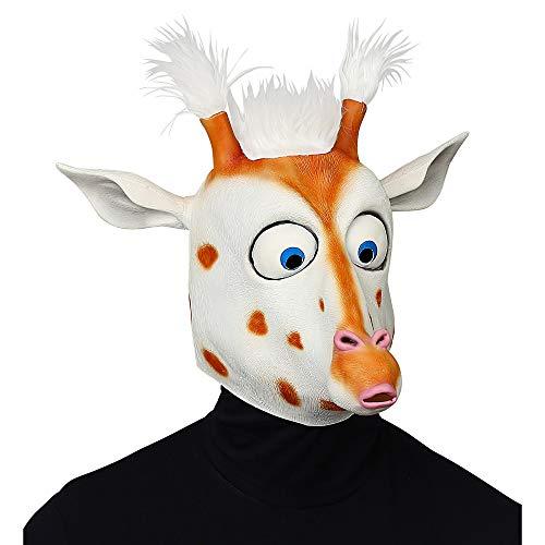 Widmann 10131378 Ganzkopf Maske Giraffe mit Riesenaugen & Plüschhaaren, Unisex– Erwachsene, Weiß/Braun