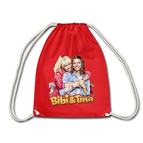 Spreadshirt Bibi & Tina Die Serie Freundinnen Turnbeutel, Rot