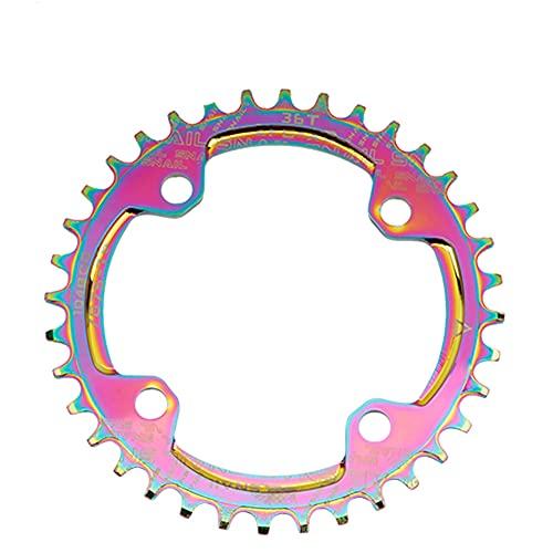 LIZHOUMIL MTB Fahrrad-Kettenblatt Farbbeschichtung 104BCD Kettenblatt Fahrrad Kettenblatt Kurbelgarnitur 36T