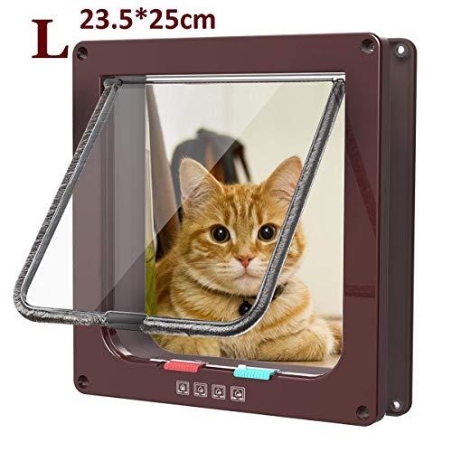 Pujuas Katzenklappe Hundeklappe mit 4-Wege-Magnet-Schließ, Haustierklappe für Katzen und kleine Hunde, Katzentüre mit Tunnel (L, Braun)