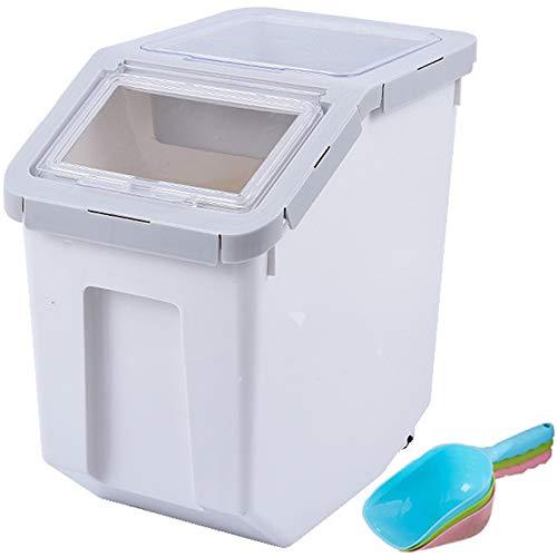 フードストッカー (Uotyle) 10KG 米 密閉保存容器 ペット 犬猫 ドライフードストッカー 大容量防湿バレル ?キャスター付き 除湿剤付き スコップ付き 乾燥 食物缶
