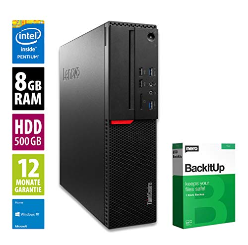 Lenovo ThinkCentre M800 SFF | Office PC | Computer | Intel Pentium G4400 @ 3,3 GHz | 8GB RAM | 500GB HDD | Win10Home (Zertifiziert und Generalüberholt)