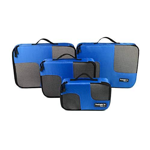 TraLight ® Packing Cubes | Packwürfel | Packtaschen | Kleidertaschen für Koffer, Reisetasche, Handgepäck, Rucksack, Sporttasche | 4 teiliges Set (Blau)