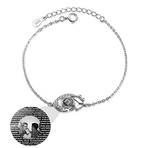 Personalized Projection Bracelet Customized Photo Bracelet 100 Different Languages I Love You Bracelet Eye Pendant Bangle(Silver Black and White)