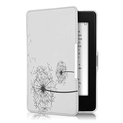 kwmobile Hülle kompatibel mit Amazon Kindle Paperwhite - Kunstleder eReader Schutzhülle Cover Case (für Modelle bis 2017) - Pusteblume Schwarz Weiß