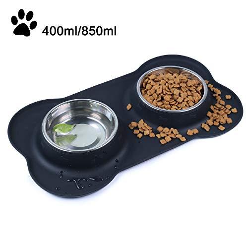 SeeKool Pet Comedero para Perro Gato y Mascotas de Acero Inoxidable, c