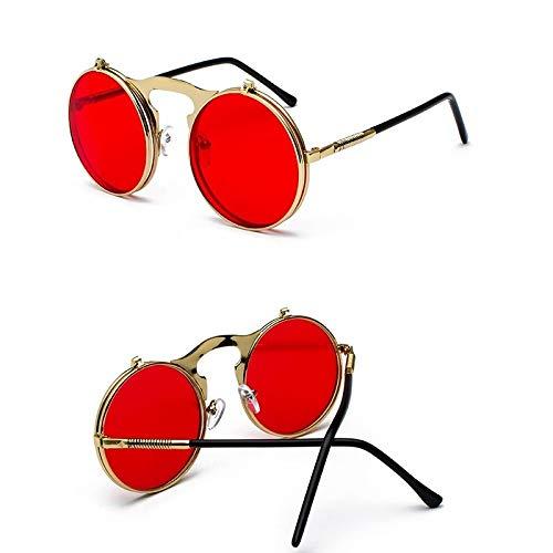 Sunglasses Gafas de Sol de Moda Steampunk Gafas De Sol Redondas Mujeres Hombres Metal Vintage Flip Circular Doble Lente