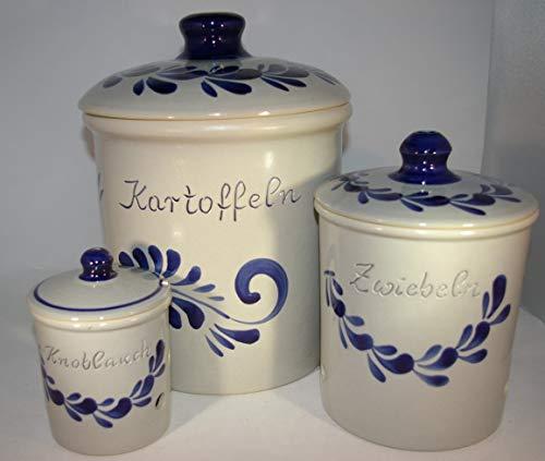 Töpferei Seifert Set grau blau Kartoffel Zwiebel Knobi Grade