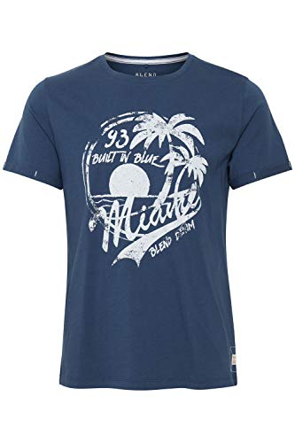 Blend Perry Camiseta Básica De Manga Corta con Estampado para Hombre con con Cuello Redondo con Gráfico, tamaño:M, Color:Ensign Blue (70260)