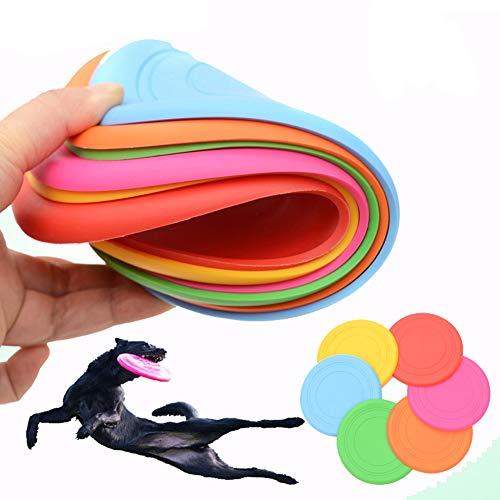 INTVN 6 Stück Frisbee für kleine Hunde Hundefrisbee ,Silikon Hundefrisbee Bissfest Interaktive Outdoor-Spielzeug für Große Hunde für Sport im Freien, Garten, Park, Spielzeug für Kinder 18x18x3cm