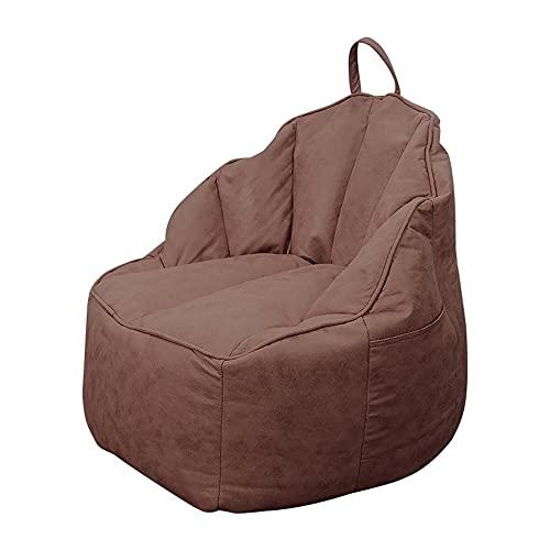 XIXIMAON Fodera per pouf senza imbottitura Bean Bag, copertura per divano a pouf, in lino, per poltrone a sdraio, per adulti e bambini, per mobili da casa, in caffe, 75 x 75 x 70 cm