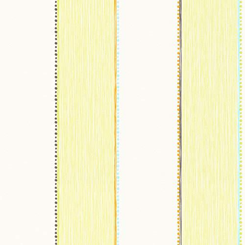 Esprit Gestreifte Tapete Créme Gelb Grün 941141 | Vliestapete Streifen Marineblau 94114-1 | Tapete für Kinderzimmer, Büro, Gästezimmer, Küche!
