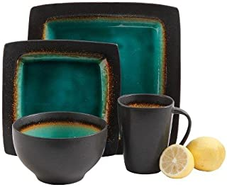 Gibson Select Ocean Paradise Square Dinnerware 16 Pc Set - Jade Crackle