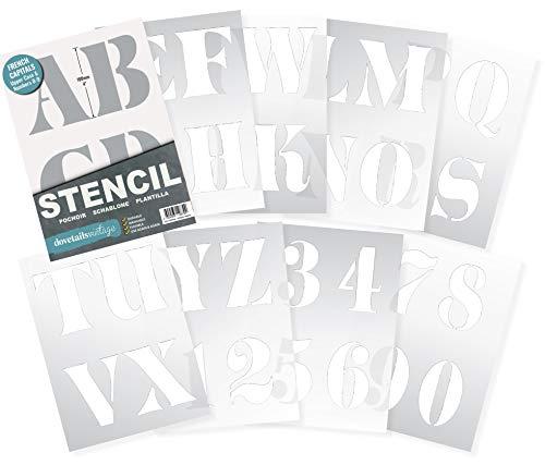 Dovetails Vintage Lettrage Pochoir Lettres de l'alphabet/Chiffres 100 mm de Haut (10cm) Très Grande French Capitales sur 9 Feuilles de 295 x 200 mm